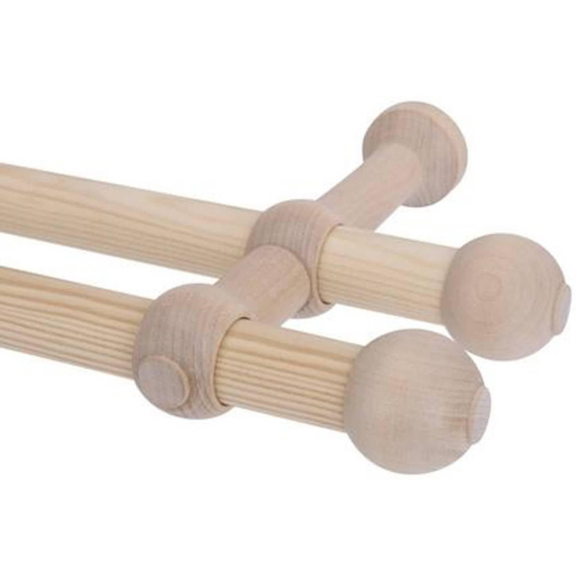 Тканини карнизи - Карниз дерев'яний прато нью на ІІ ряди  120CM сосна 25/25мм/120см