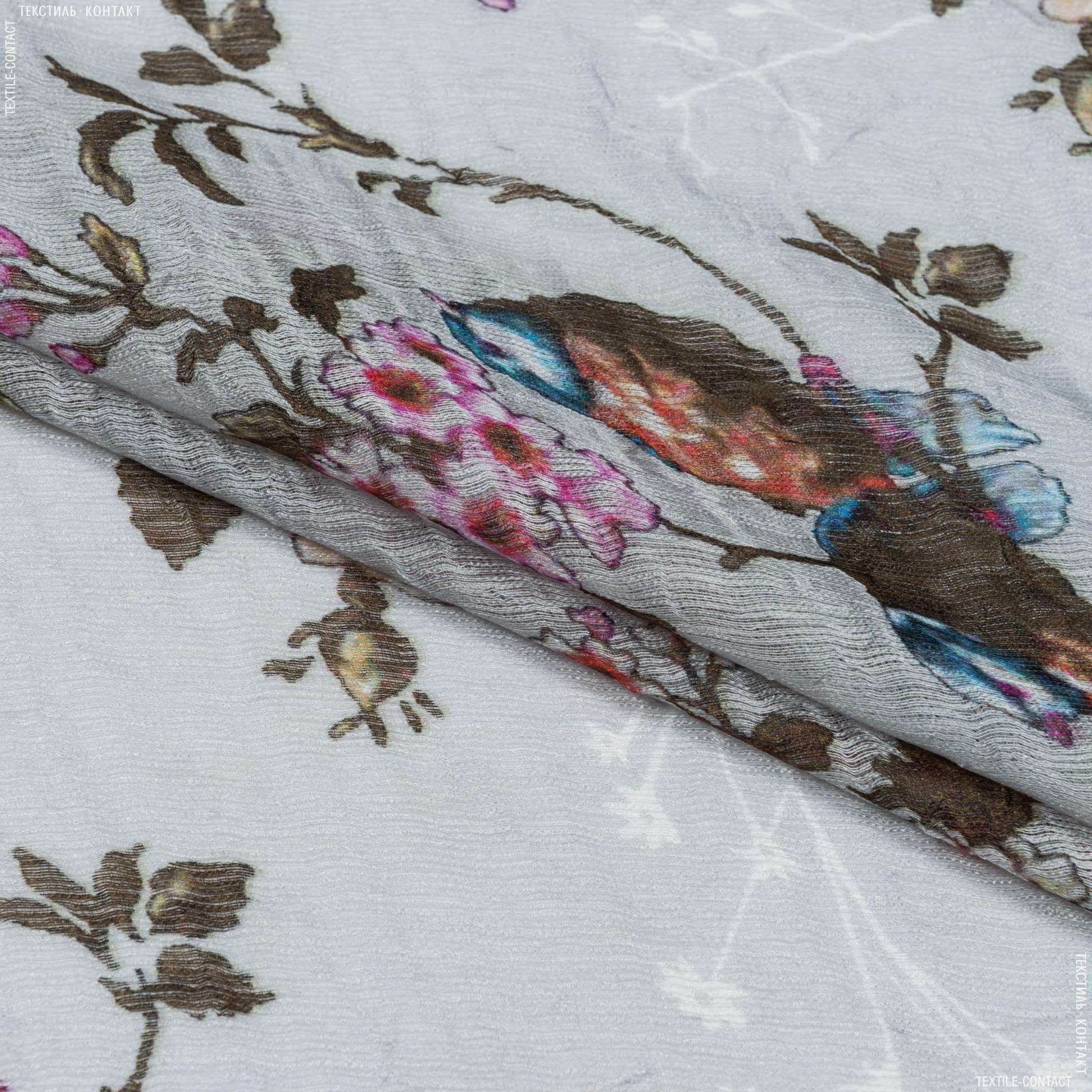 Ткани гардинные ткани - Тюль с утяжелителем  шик фон св.серый