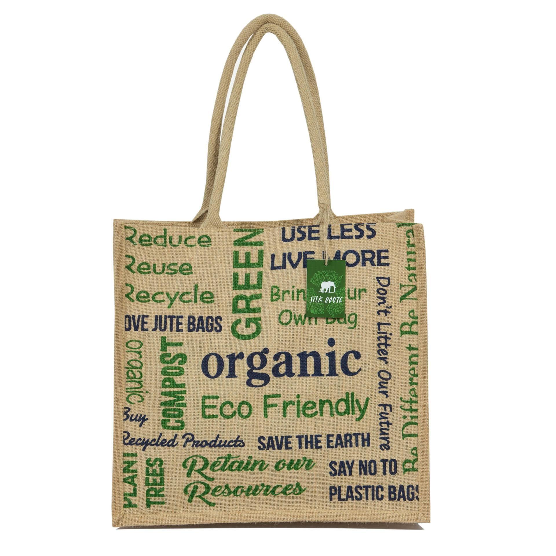 Ткани сумка шоппер - Сумка джутовая шоппер organik  green (ручка 53 см)