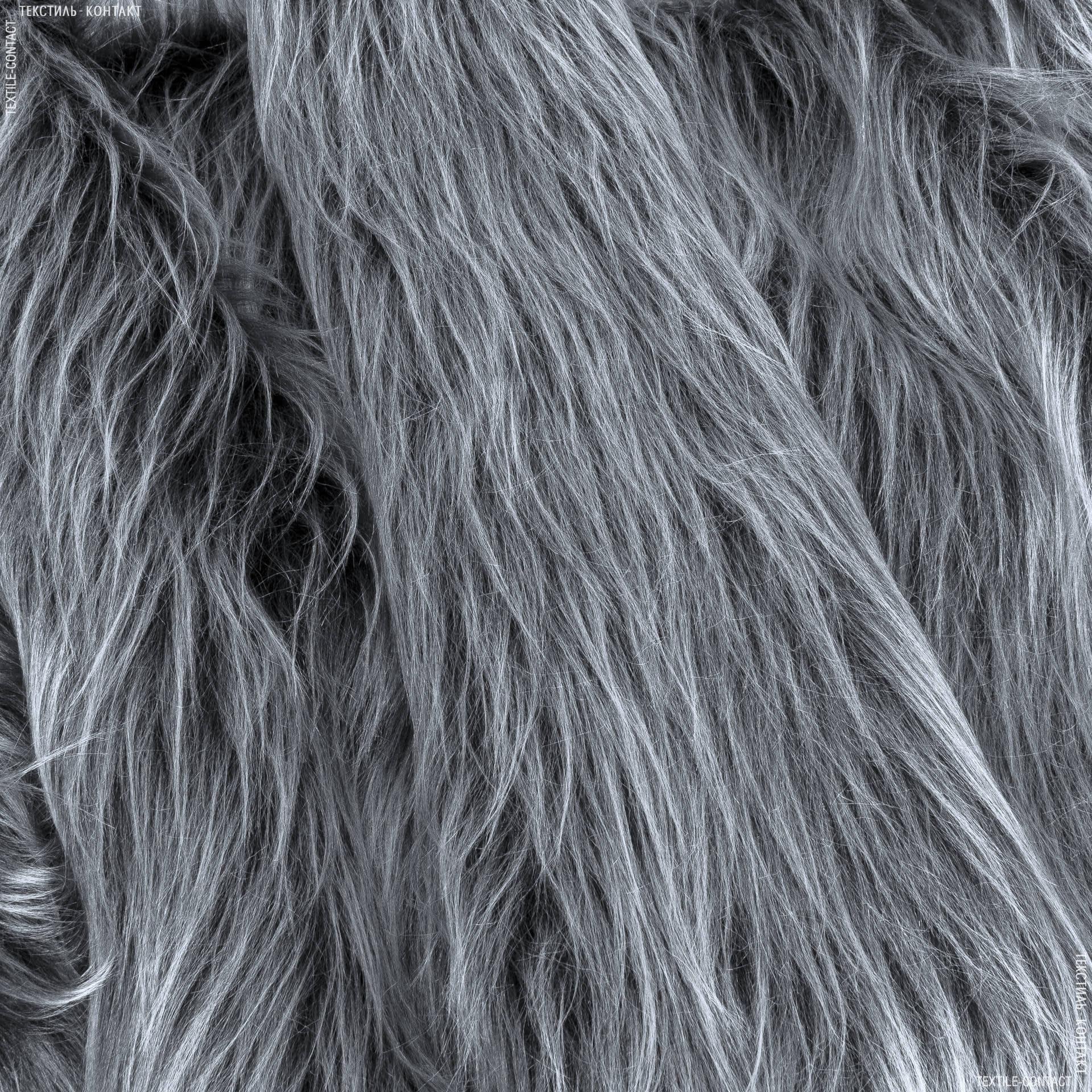 Ткани для верхней одежды - Мех длинноворсовый черный седой