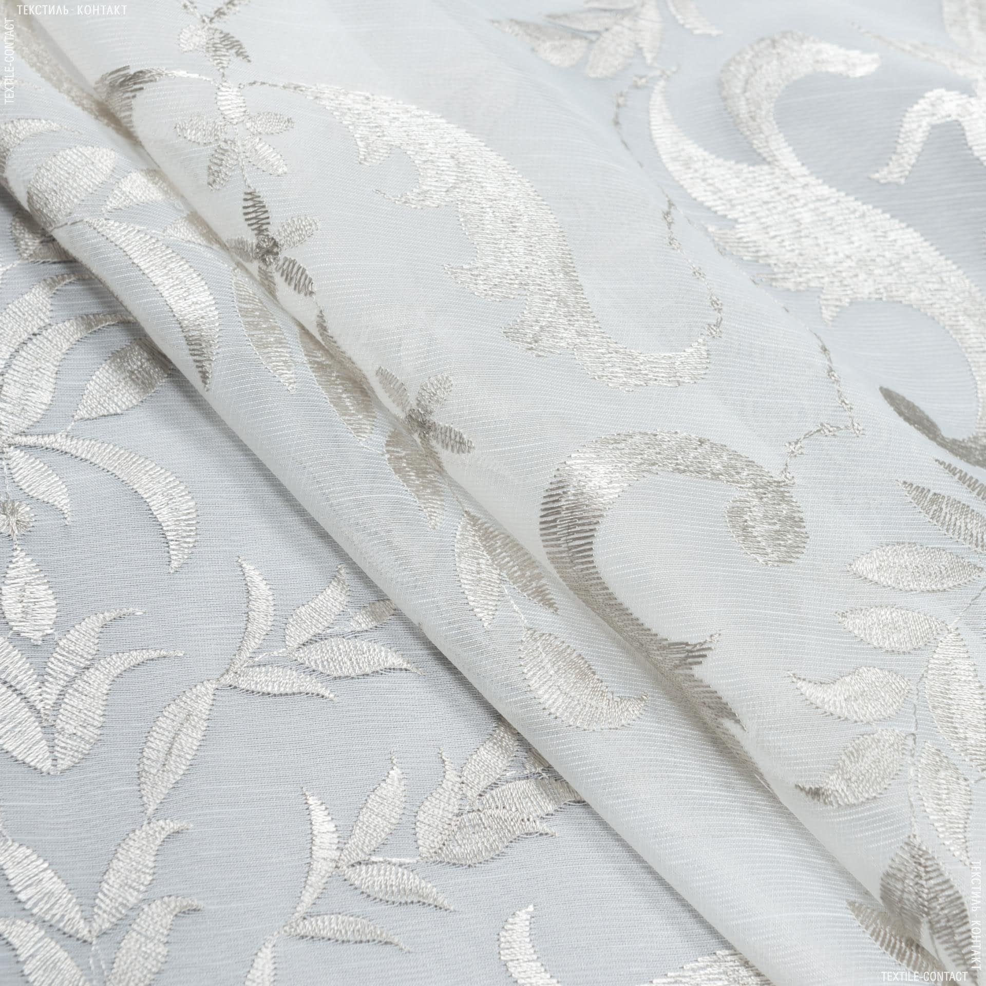 Тканини для тюлі - Тюль з обважнювачем мірала молочний купон / вишивка сірий