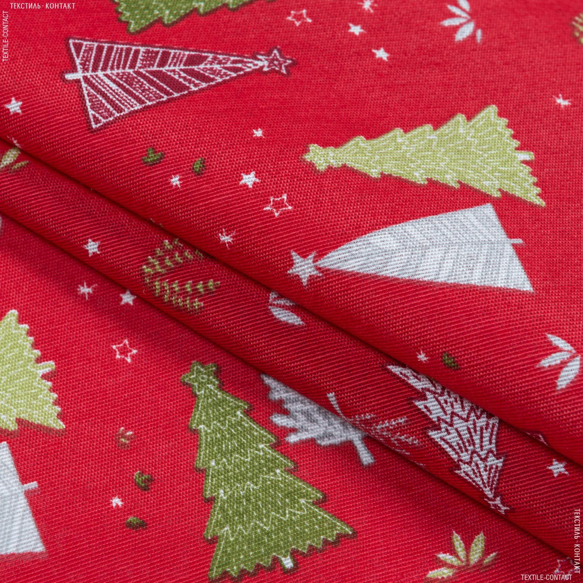 Тканини для декоративних подушок - Декоративна новорічна тканина Лонета  Ялинки, червоний