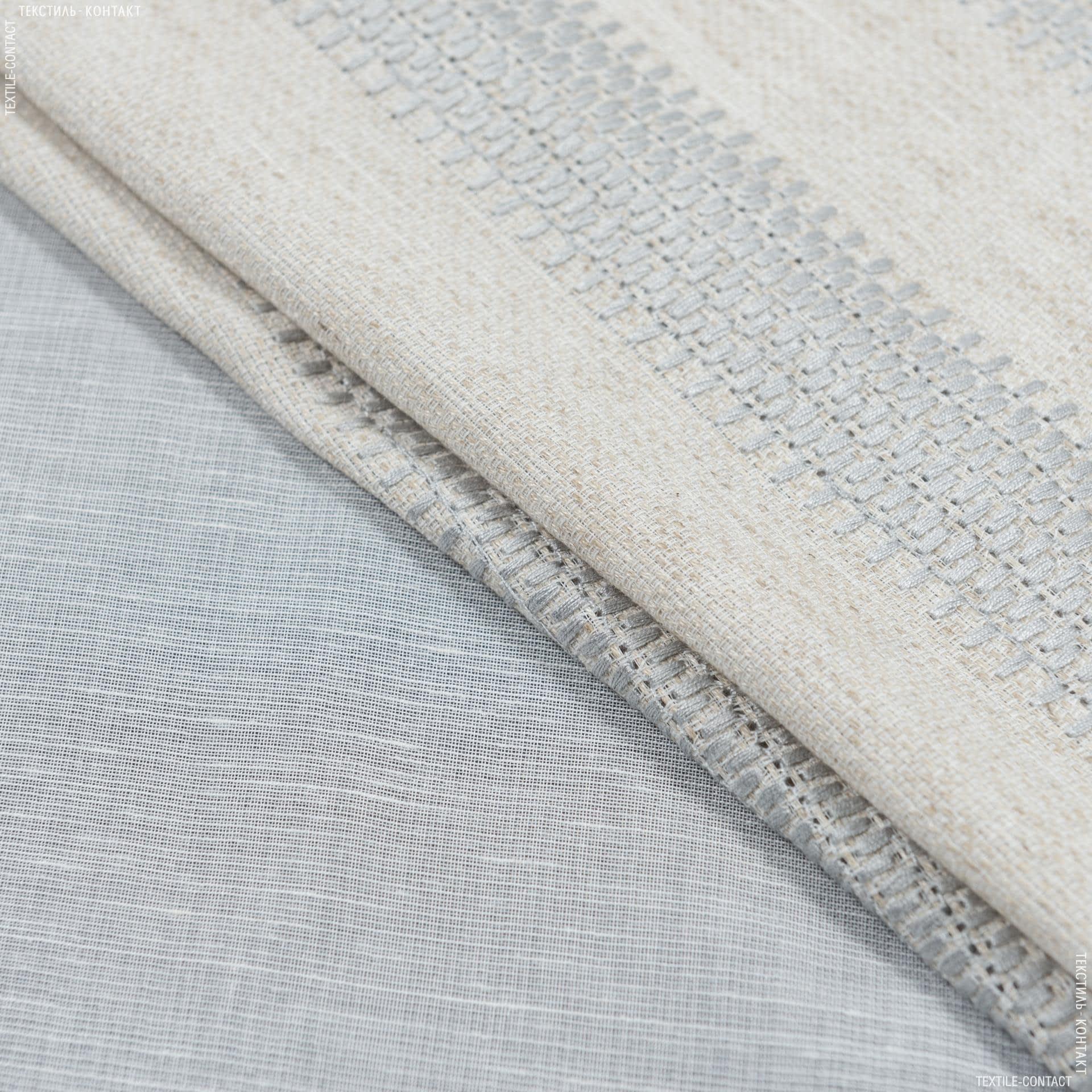 Ткани для тюли - Тюль  с утяжелителем биона купон вышивка   /baiona  /беж,серый