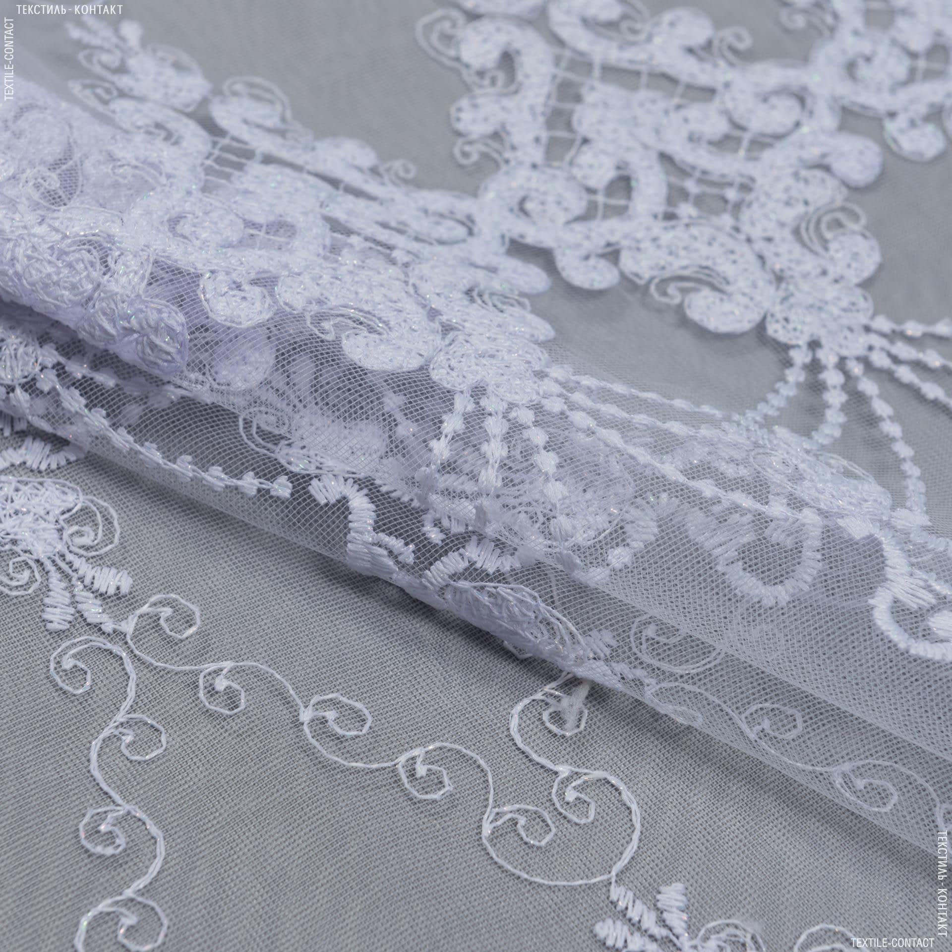 Ткани для тюли - Тюль вышивка   эвелина белый,блеск