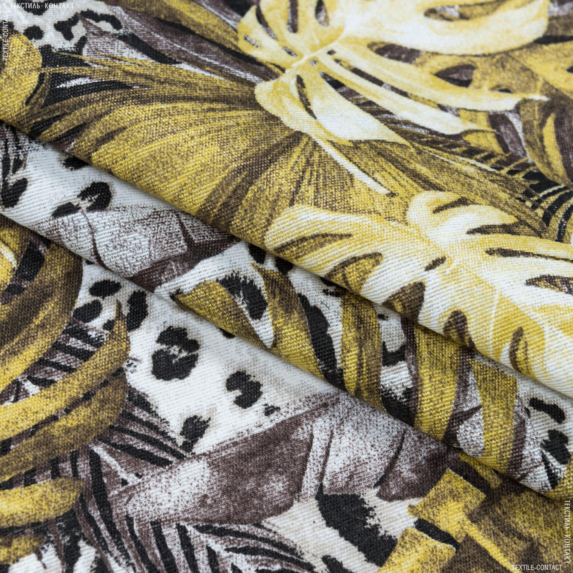 Ткани портьерные ткани - Декоративная ткань селва крупный лист / selva золотой