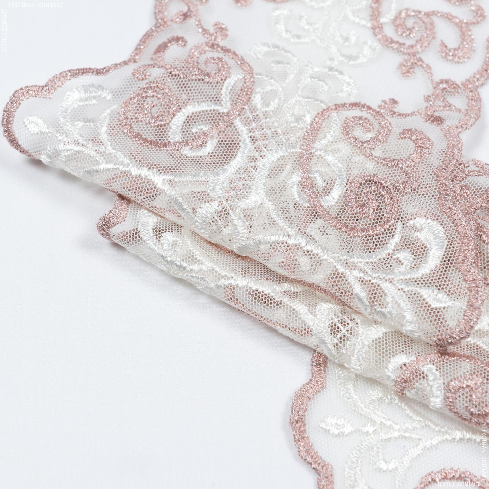Тканини для печворку - Декоративне мереживо лівія / молочний,фрез  16 см