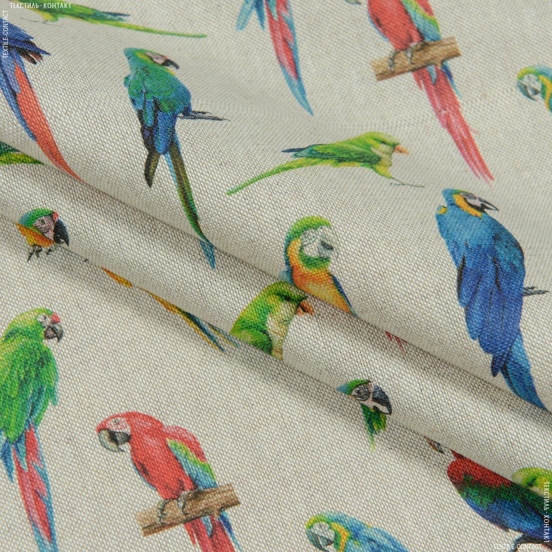 Ткани портьерные ткани - Декоративная ткань Попугаи /  DIGITAL LOROS/ фон натуральный