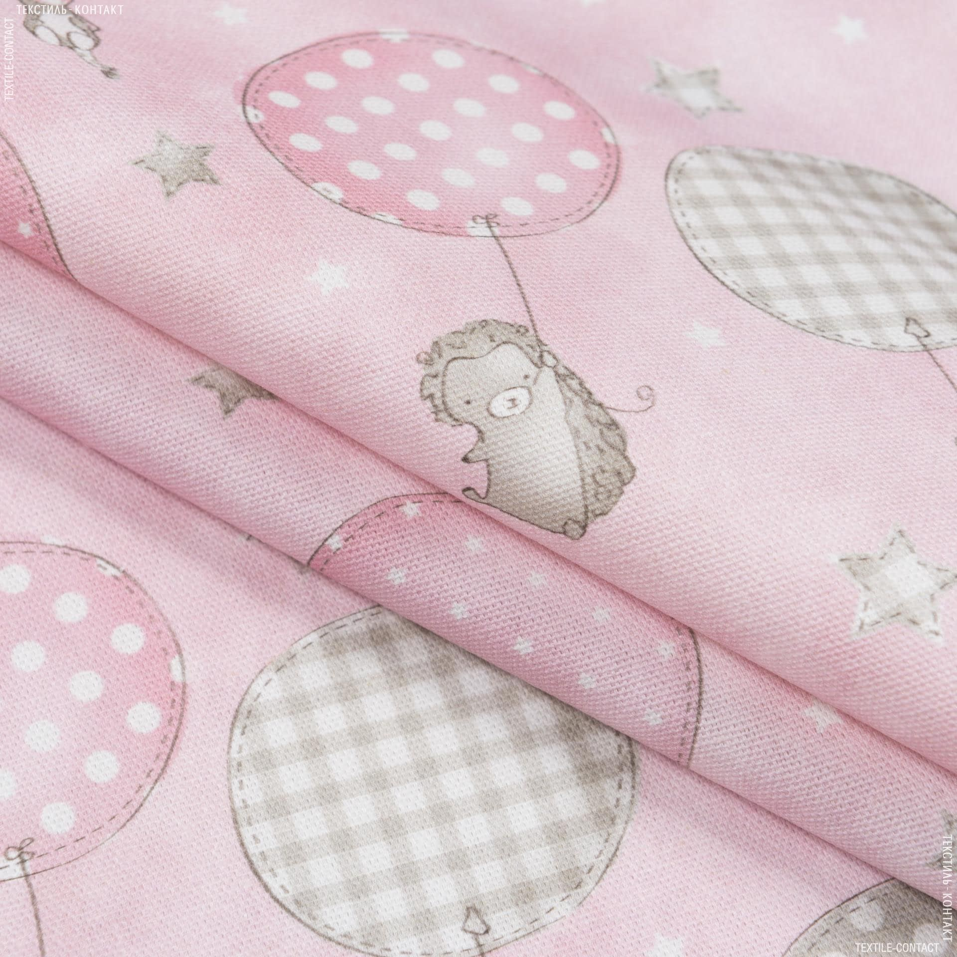 Тканини портьєрні тканини - Декоративна тканина бімбі зверюшки на шарах/bimbi рожевий