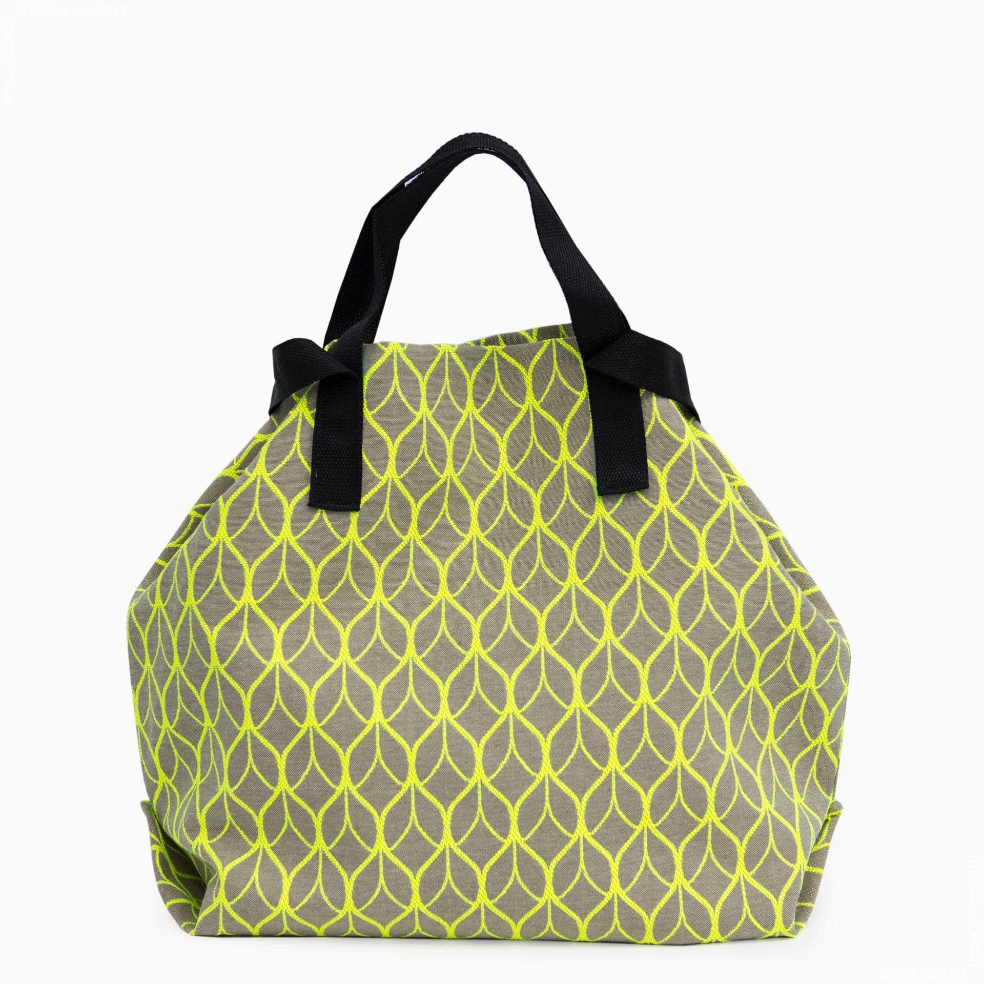 Тканини сумка шопер - Сумка шопер дайніс  /лист/беж.  яскраво- салатовий  50х50 см