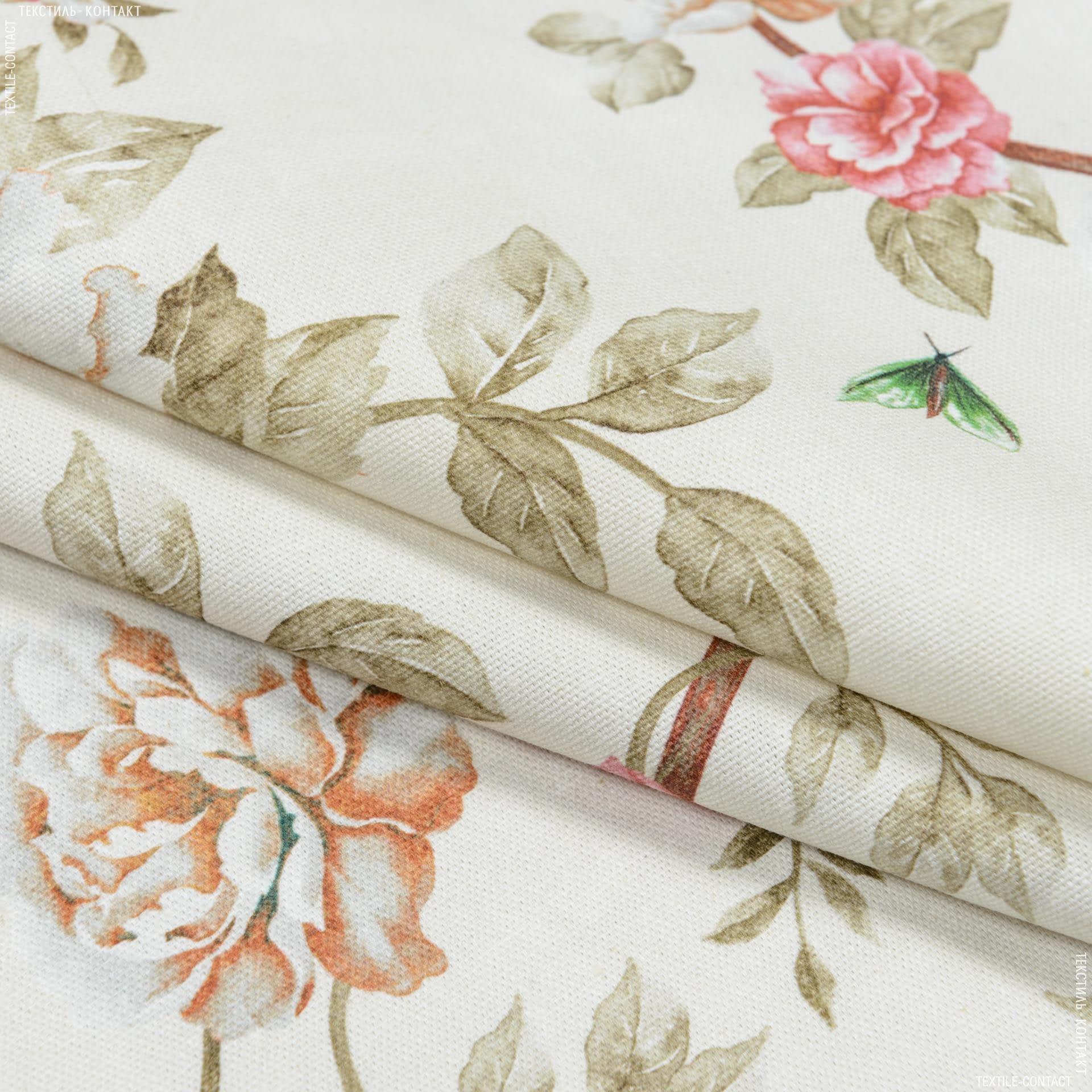 Ткани портьерные ткани - Декоративная ткань  цветы колибри фон молочный