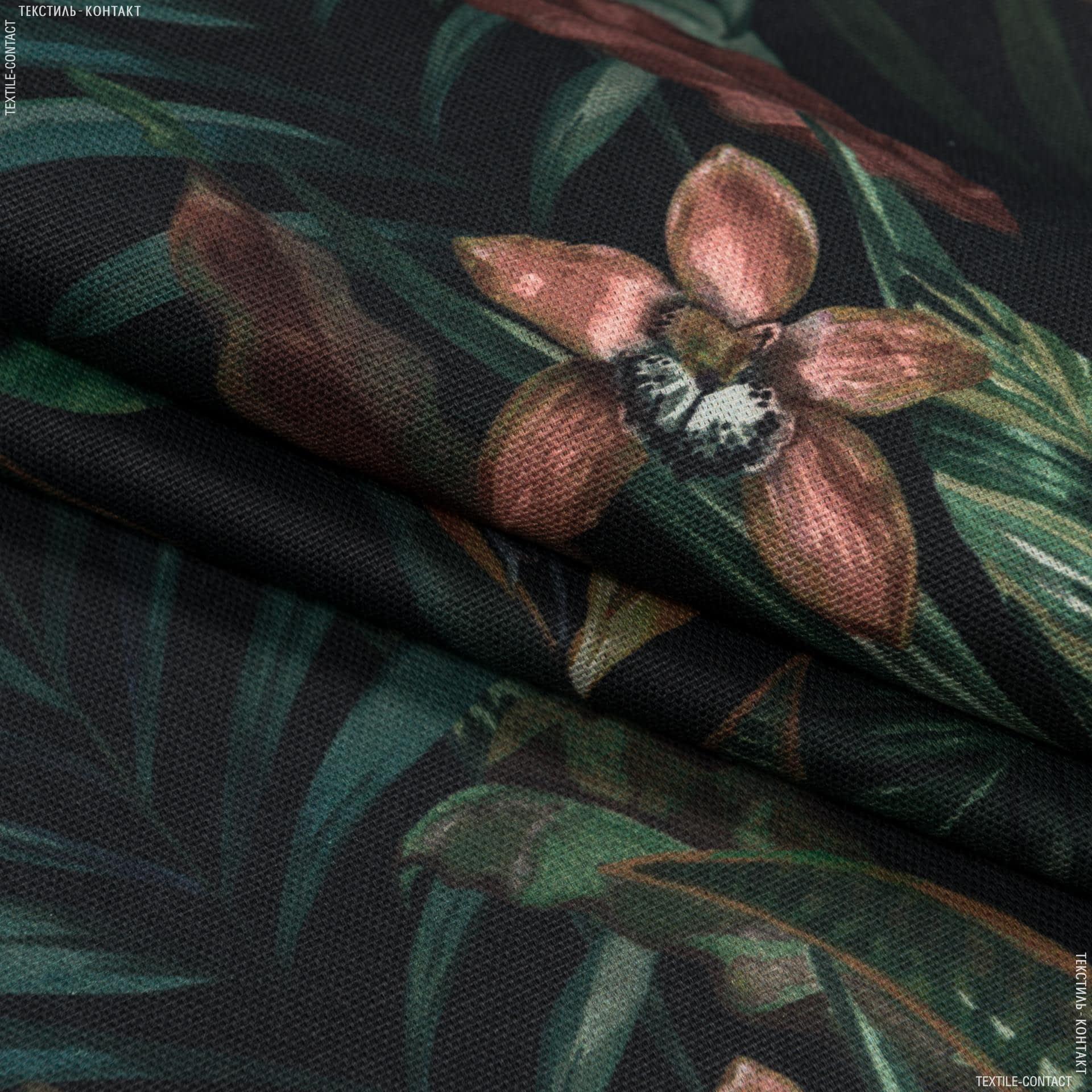 Тканини портьєрні тканини - Декоративна тканина галілея квіти стрекози тон чорний