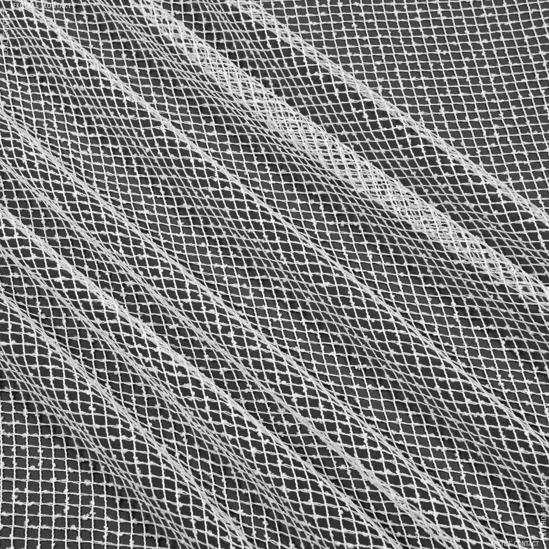 Тканини для драпірування стін і стель - Тюль з обважнювачем сітка еліза/ білий