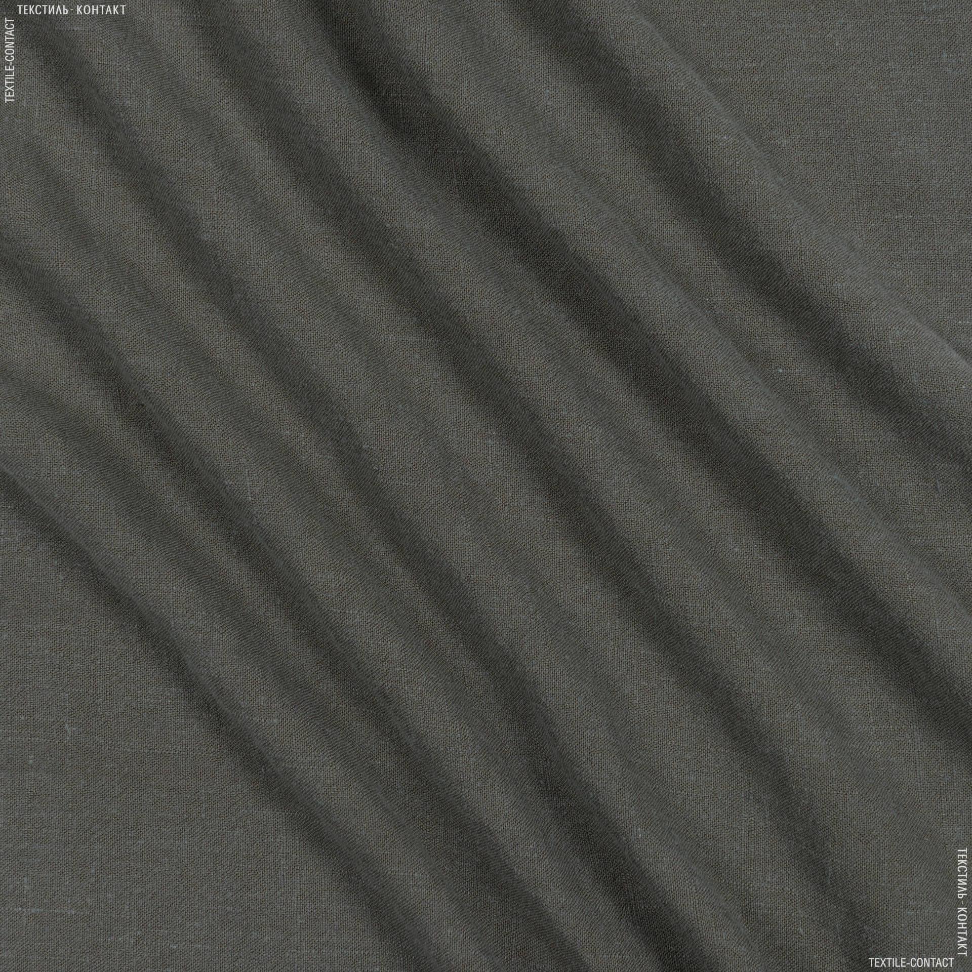 Тканини для штанів - Льон-котон сіро-зелений
