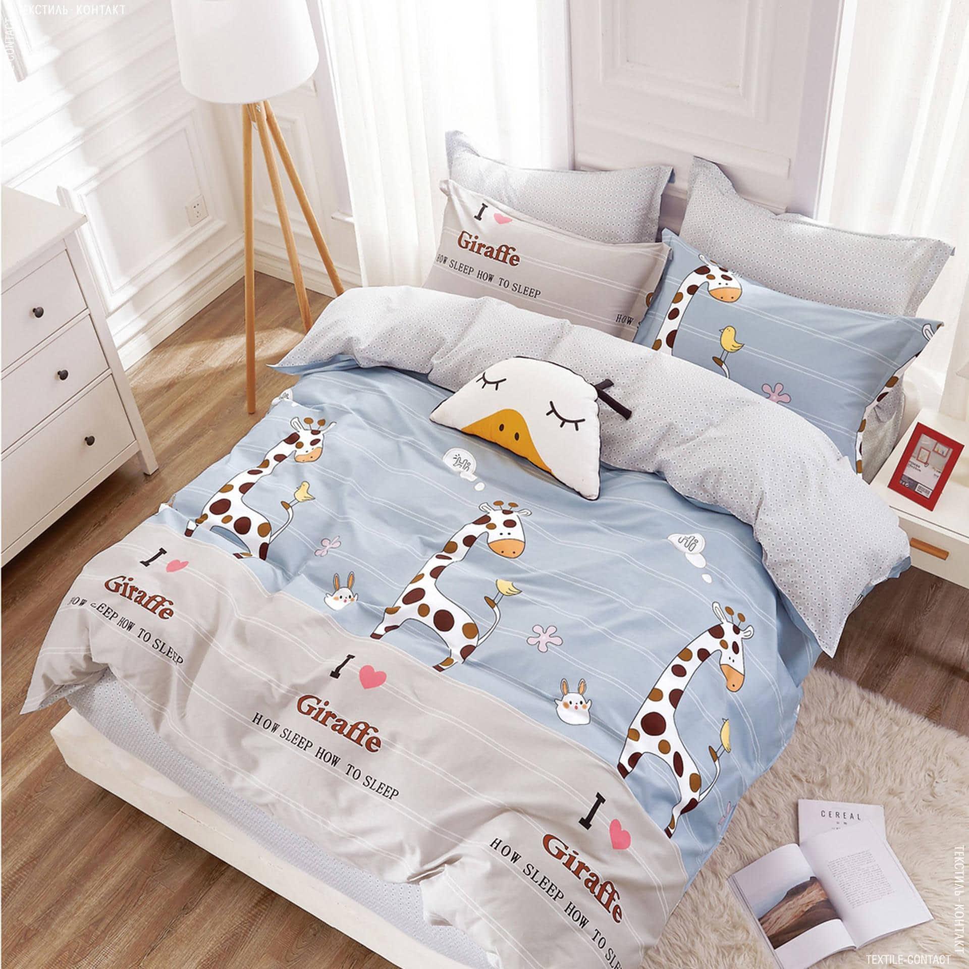"""Ткани комплект постельного белья - Полуторный комплект постельного белья  """"жирафёнок"""""""