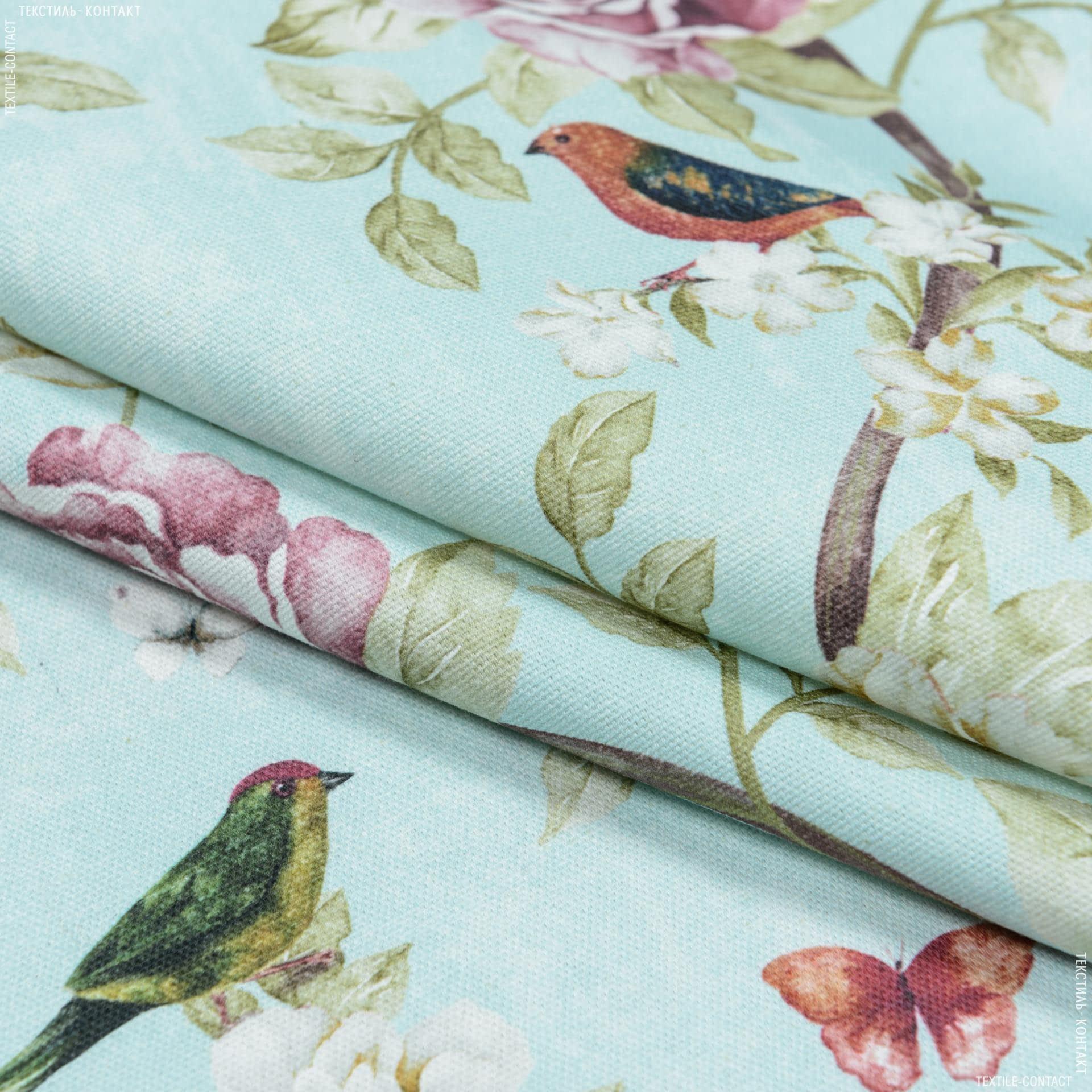 Тканини портьєрні тканини - Декоративна тканина квіти колібрі/ тон лазур