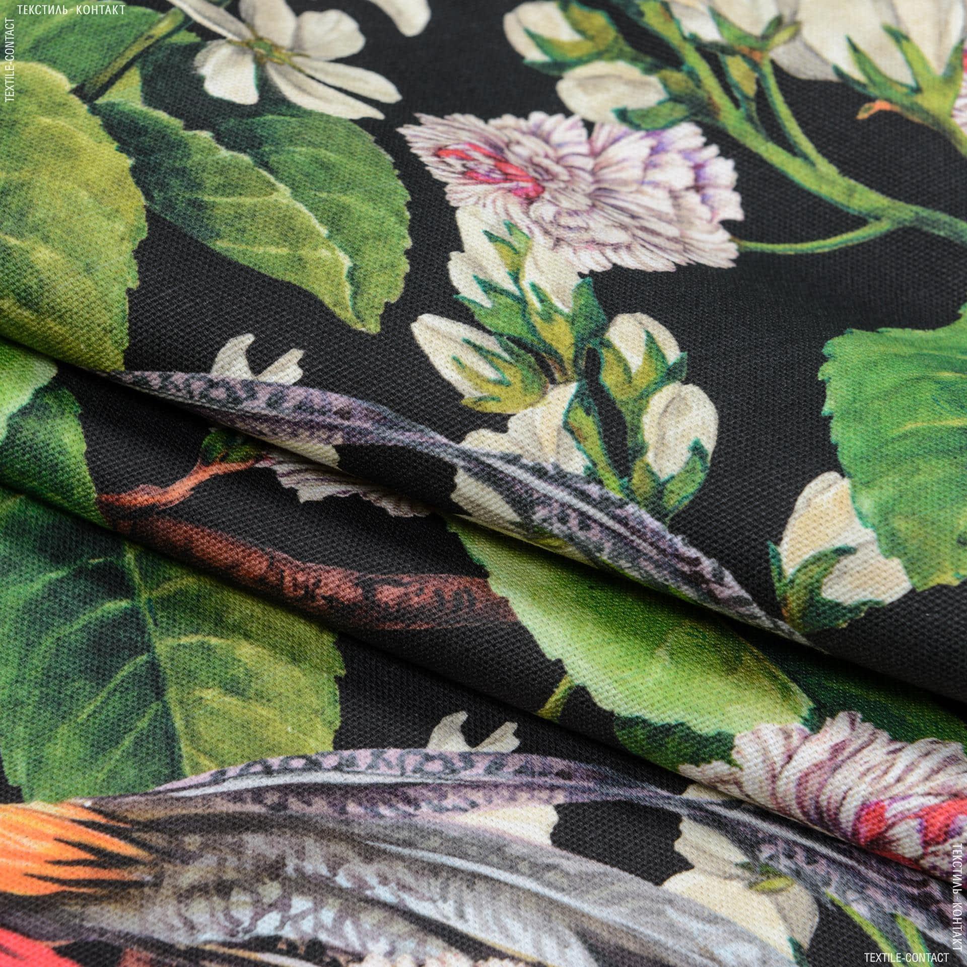 Тканини портьєрні тканини - Декоративна тканина сад едема тон чорний