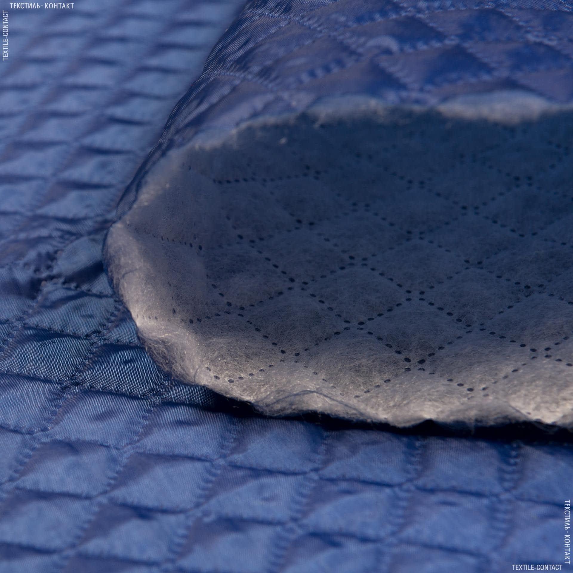 Ткани подкладочная ткань - Подкладка 190Т термопай с синтепоном 100г/м 2см*2см темный электрик
