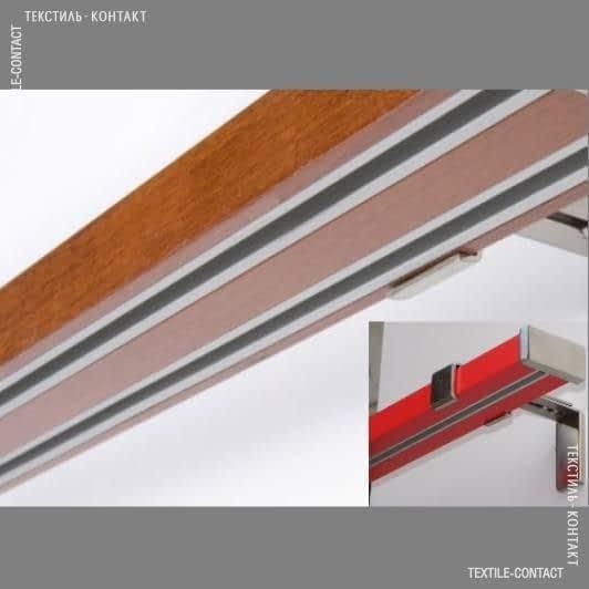 Ткани карнизы - Карниз Квадрато  на 2 полосы сталь+красный 25мм/160СМ