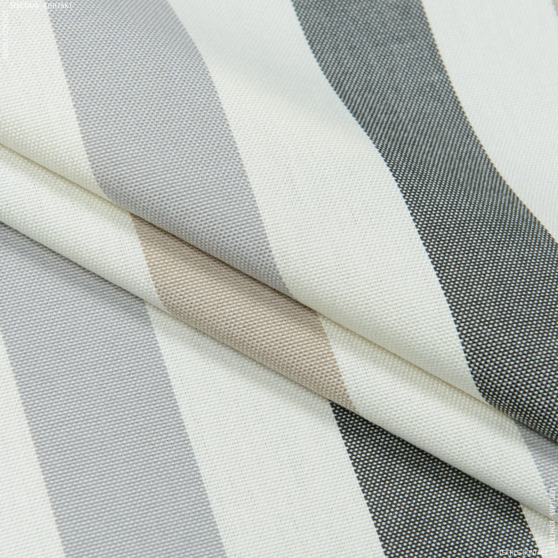 Ткани портьерные ткани - Дралон полоса панама  / крем , беж, серый  FRBS1