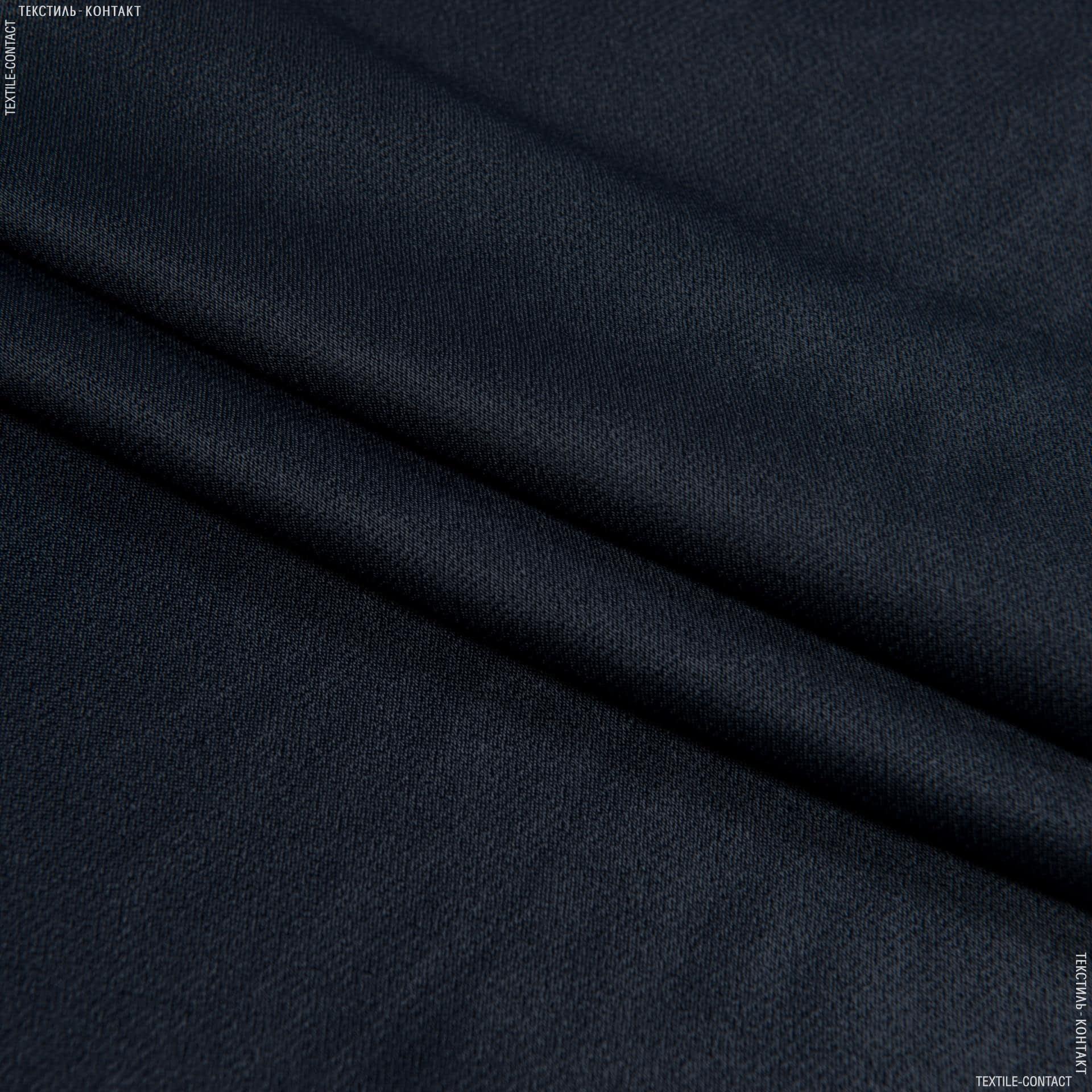 Тканини для костюмів - Платтяна креп-сатин міка темно-синій